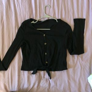 Cute black long sleeve crop top/ also in green